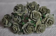 1.5cm OLIVE GREEN Mulberry Paper Roses